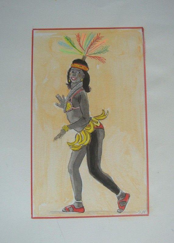 AFRICAINE comme Joséphine Baker avec des bananes