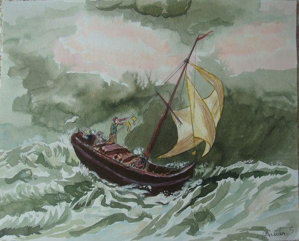 Petit bateau dans la temp te for Dans un petit bateau