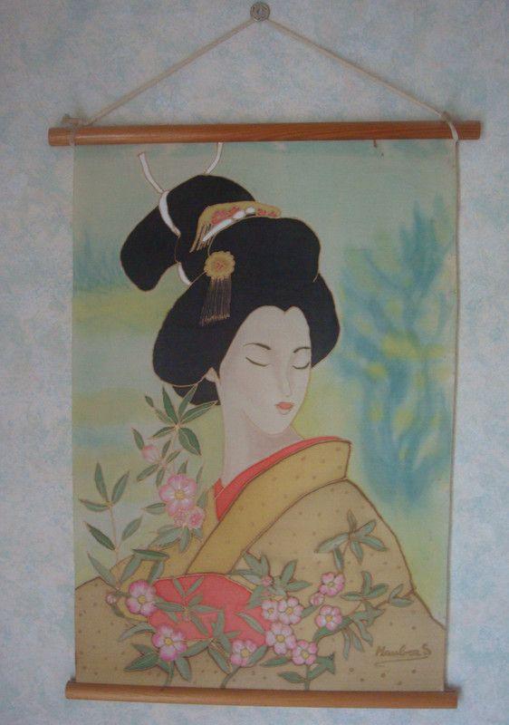 cadre une jolie japonnaise fait sur soie centerblog. Black Bedroom Furniture Sets. Home Design Ideas