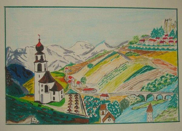 dessin de village avec son église