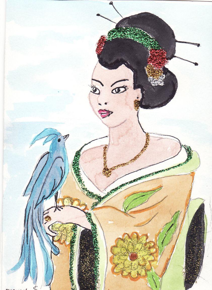 dessin de japonaise avec oiseau bleu