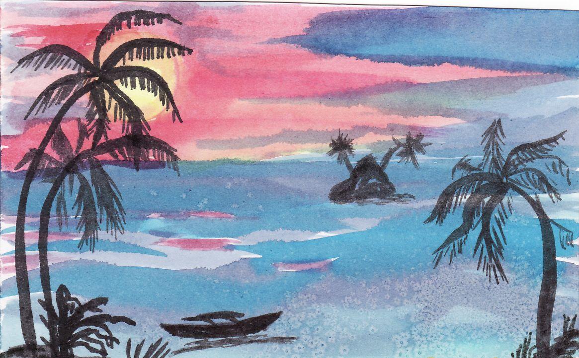 Paysage de tahiti avec cocotier pirogue et mer image de - Coloriage paysage mer ...