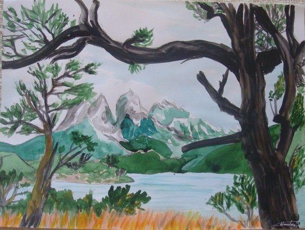 paysage arbre montagne lac dessin de paysage de montagne en couleur. Black Bedroom Furniture Sets. Home Design Ideas