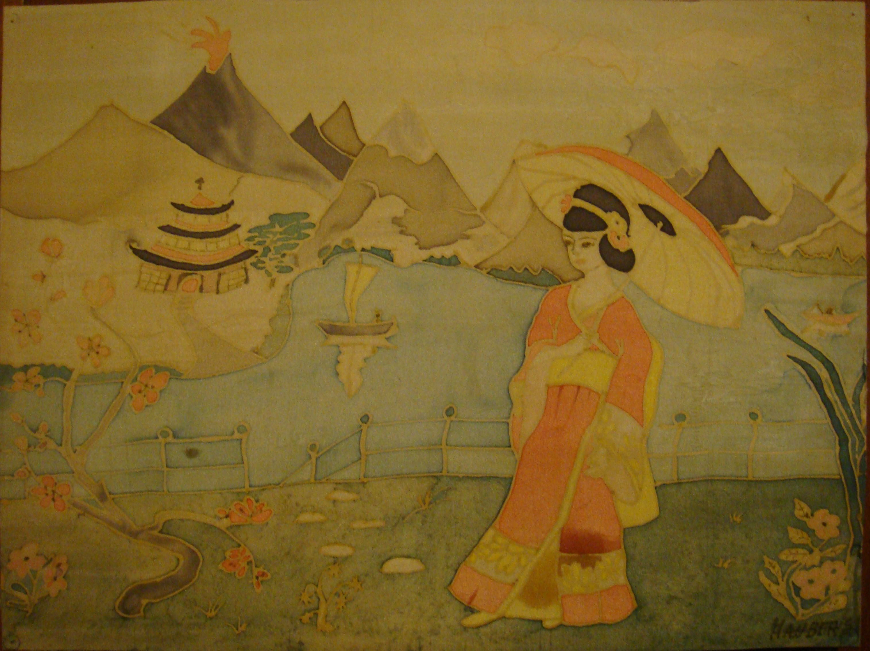 japonnaise avec ombrelle dans son jardin