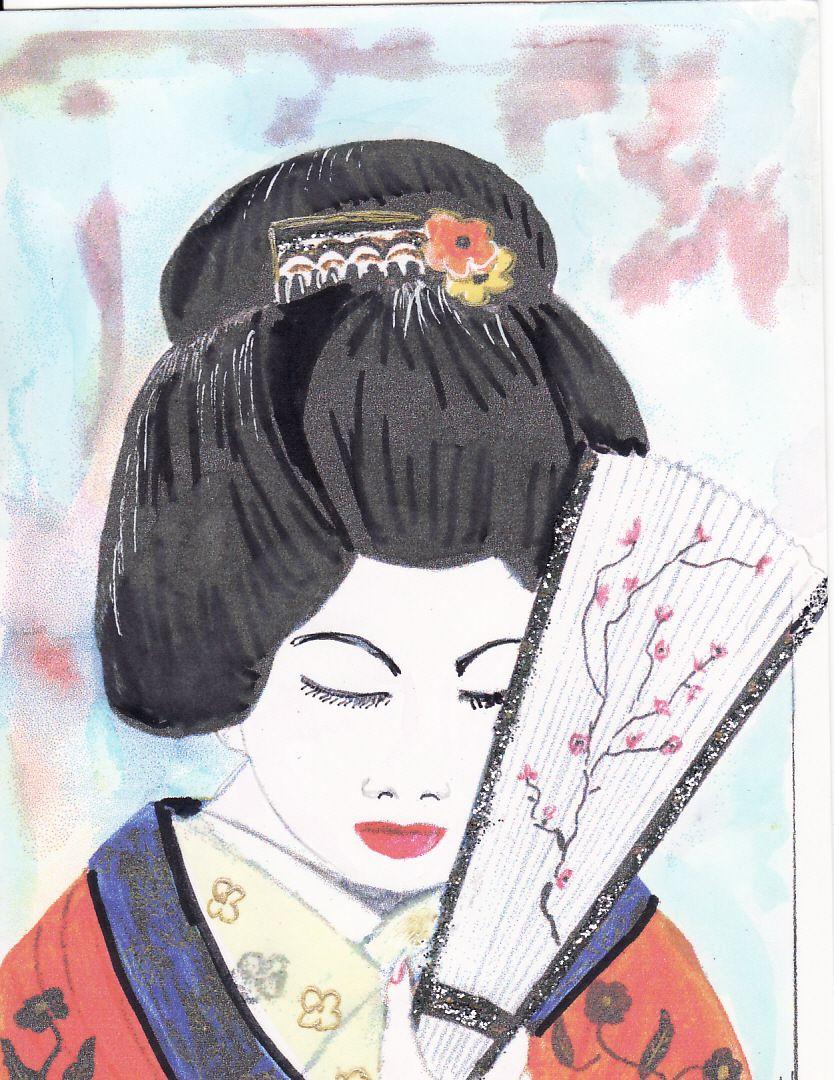 Jolie japonaise avec éventail